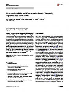 Structural and Optical Characterization of Chemically Deposited PbS Thin Films