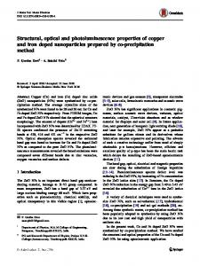 Structural, optical and photoluminescence properties of copper and iron doped nanoparticles prepared by co-precipitation method
