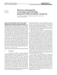 Structure and properties of zirconium oxide thin films prepared by filtered cathodic vacuum arc