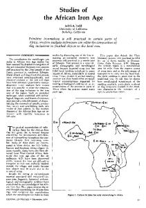Studies of the African Iron Age