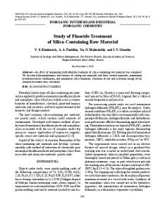 Study of fluoride treatment of silica-containing raw material