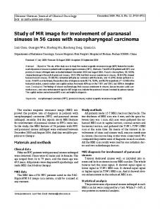 Study of MR image for involvement of paranasal sinuses in 56 cases with nasopharyngeal carcinoma
