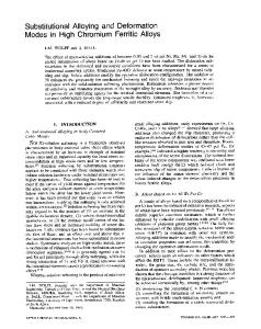Substitutional alloying and deformation modes in high chromium ferritic alloys