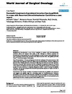 Successful treatment of persistent bronchorrhea by gefitinib in a case with Recurrent Bronchioloalveolar Carcinoma: a case report