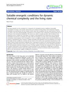 Suitable energetic conditions for dynamic chemical complexity and the living state