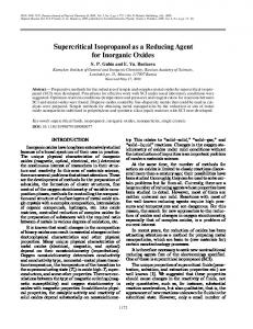 Supercritical isopropanol as a reducing agent for inorganic oxides