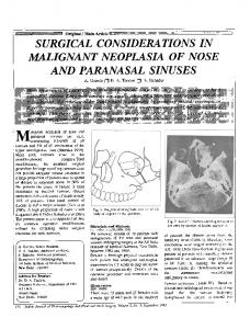 Surgical considerations in malignant neoplasia of nose and paranasal sinuses