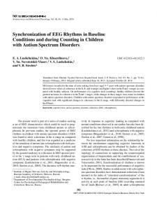 Synchronization of EEG Rhythms in Baseline Conditions and during Counting in Children with Autism Spectrum Disorders
