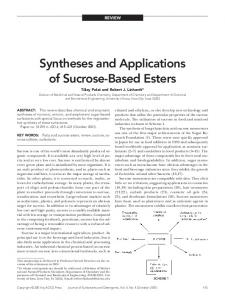 Syntheses and applications of sucrose-based esters