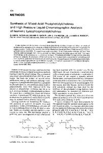 Synthesis of mixed-acid phosphatidylcholines and high pressure liquid chromatographic analysis of isomeric lysophosphatidylcholines
