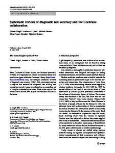 Systematic reviews of diagnostic test accuracy and the Cochrane collaboration