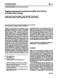 Tagging staphylococcal enterotoxin B (SEB) with TGFaL3 for breast cancer therapy
