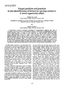 Target position and practice in the identification of letters in varying contexts: A word superiority effect