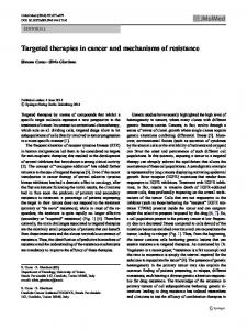 Targeted therapies in cancer and mechanisms of resistance