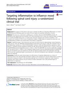 Targeting inflammation to influence mood following spinal cord injury: a randomized clinical trial