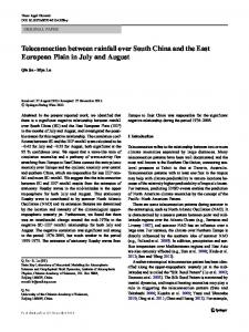 Teleconnection between rainfall over South China and the East European Plain in July and August