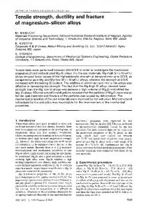 Tensile strength, ductility and fracture of magnesium-silicon alloys
