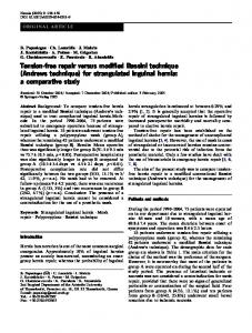 Tension-free repair versus modified Bassini technique (Andrews technique) for strangulated inguinal hernia: a comparative study