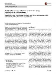 TGF beta2 concentration in dairy products: the effect of processing on its concentration
