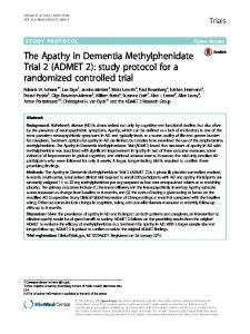 The Apathy in Dementia Methylphenidate Trial 2 (ADMET 2): study protocol for a randomized controlled trial