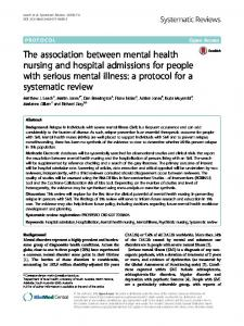The association between mental health nursing and hospital admissions for people with serious mental illness: a protocol for a systematic review