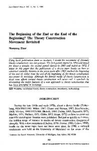The beginning of the end or the end of the beginning? the theory construction movement revisited