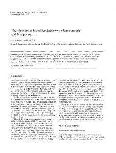 The changes in blood resistivity with haematocrit and temperature