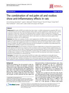 The combination of red palm oil and rooibos show anti-inflammatory effects in rats