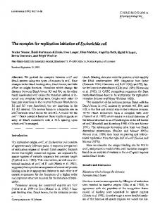 The complex for replication initiation ofEscherichia coli