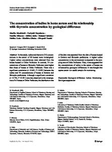 The concentration of iodine in horse serum and its relationship with thyroxin concentration by geological difference