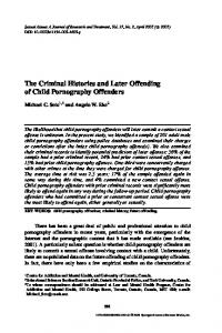 The Criminal Histories and Later Offending of Child Pornography Offenders