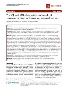 The CT and MRI observations of small cell neuroendocrine carcinoma in paranasal sinuses
