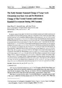 The early summer seasonal change of Large-Scale circulation over east asia and its relation to change of the frontal features and frontal rainfall environment during 1991 summer