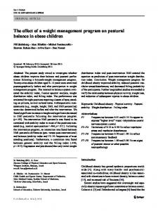 The effect of a weight management program on postural balance in obese children