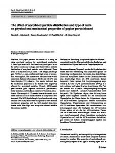The effect of acetylated particle distribution and type of resin on physical and mechanical properties of poplar particleboard