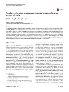 The effect of alcohol solvent treatment on the performance of inverted polymer solar cells