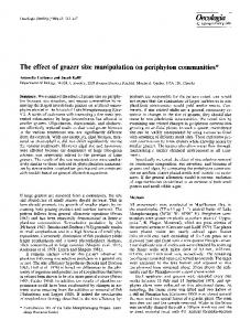 The effect of grazer size manipulation on periphyton communities