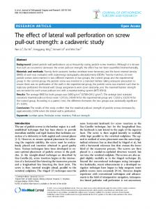 The effect of lateral wall perforation on screw pull-out strength: a cadaveric study