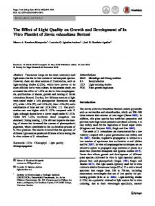The Effect of Light Quality on Growth and Development of In Vitro Plantlet of Stevia rebaudiana Bertoni