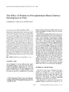 The effect of protein on preimplantation mouse embryo development in vitro