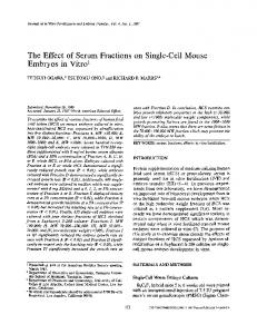 The effect of serum fractions on single-cell mouse embryos in vitro