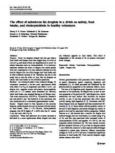 The effect of submicron fat droplets in a drink on satiety, food intake, and cholecystokinin in healthy volunteers