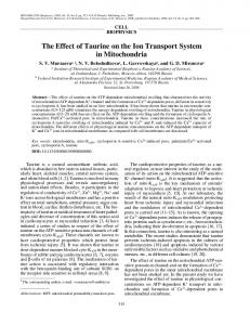 The effect of taurine on the ion transport system in mitochondria