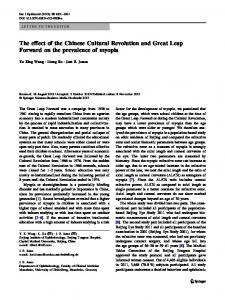 The effect of the Chinese Cultural Revolution and Great Leap Forward on the prevalence of myopia