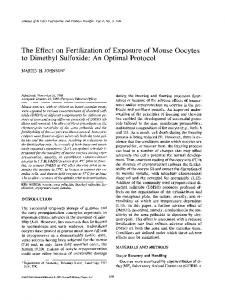 The effect on fertilization of exposure of mouse oocytes to dimethyl sulfoxide: An optimal protocol