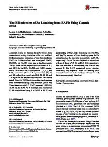 The Effectiveness of Zn Leaching from EAFD Using Caustic Soda