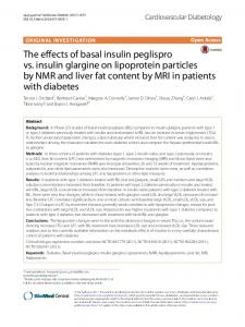 The effects of basal insulin peglispro vs. insulin glargine on lipoprotein particles by NMR and liver fat content by MRI in patients with diabetes