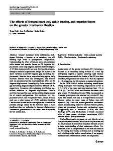 The effects of femoral neck cut, cable tension, and muscles forces on the greater trochanter fixation