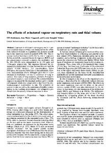 The effects of n-butanol vapour on respiratory rate and tidal volume