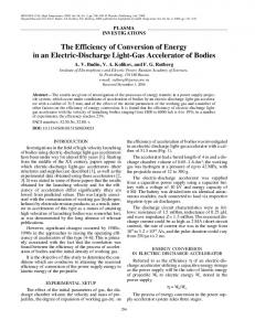 The efficiency of conversion of energy in an electric-discharge light-gas accelerator of bodies